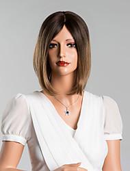 modische Medium gerade capless Perücken hohe Qualität menschliches Haar Mischfarbe