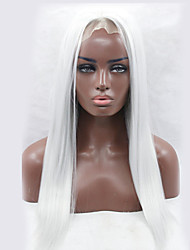 cheap -Wholesale Long Straight White Color Afro Women Synthetic Lace Front Wigs