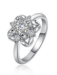 abordables -Femme Anneaux Zircon cubique Luxe Zircon Plaqué argent Imitation Diamant Bijoux Mariage Soirée Quotidien Décontracté Sports