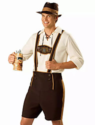 cheap -Oktoberfest Bavarian Cosplay Costume Party Costume Male Halloween Oktoberfest Festival / Holiday Halloween Costumes Brown Print