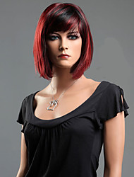 cheap -Women Synthetic Wig Short Straight Red Highlighted/Balayage Hair Bob Haircut With Bangs Natural Wigs Halloween Wig Carnival Wig Costume