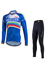 Cycling Jacket with Pants Men's Long Sleeves Bike Clothing Suits Thermal / Warm Windproof Fleece Lining Reflective Strips
