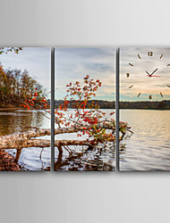 E-HOME® Scenery on The Lake Clock in Canvas 3pcs