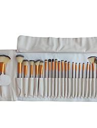 24 Makeup Brushes Set Nylon Hair Professional / Portable Wood Face/Eye / Lip White