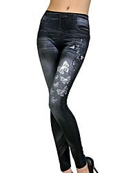 Femme Couleur Pleine A Motifs Toile de jean Legging,Polyester