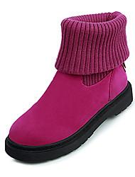 baratos -Mulheres Sapatos Microfibra Inverno Coturnos Botas Caminhada Salto Baixo Ponta Redonda Elástico para Escritório e Carreira Social Preto