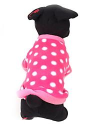 abordables -Chien Pull Vêtements pour Chien Décontracté / Quotidien Garder au chaud A pois Rouge Rose Costume Pour les animaux domestiques