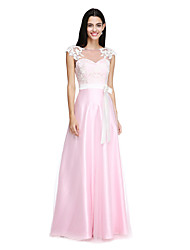 cheap -A-Line Bateau Neck Floor Length Tulle Stretch Satin Bridesmaid Dress with Appliques Bow(s) Buttons Sash / Ribbon by LAN TING BRIDE®