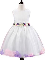 cheap -Girl's Formal Solid Dress, Polyester All Seasons Sleeveless Dresswear Bow White Purple Fuchsia Red Pink