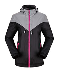 KORAMAN Women's Waterproof Reflective Running Cycling Full-zip Hooded Windbreaker Jacket with Earphone