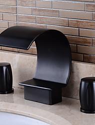 baratos -Clássica Pia Sensor Válvula Cerâmica Uma Abertura Duas alças de três furos Níquel Escovado, Torneira pia do banheiro