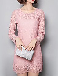 cheap -Women's Lace Plus Size / Going out / Daily Sexy / Simple / Cute Lace DressSolid / Embroidered Round Neck
