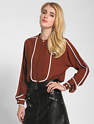 cheap -1287 Women's Going out / Daily Vintage All Seasons Shirt Color Block Round Neck Long Sleeve White / Black / Brown