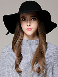 cheap -Women autumn and winter England Casual Pure Color Dome woolen bow Big brim hat
