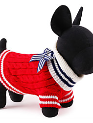 cheap -Cat Dog Sweater Christmas Dog Clothes Cute New Year's Color Block Red Blue Costume For Pets
