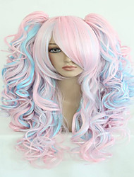 cheap -Costume Wigs / Synthetic Wig Wavy Layered Haircut / With Ponytail / With Bangs Highlighted / Balayage Hair Pink Women's Capless Carnival
