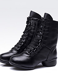 cheap -Women's Latin Shoes / Jazz Shoes / Dance Sneakers Leather Boots / Sneaker Chunky Heel Non Customizable Dance Shoes Black / Practice