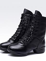 Недорогие -Жен. Обувь для латины / Обувь для джаза / Танцевальные кроссовки Кожа Ботинки / Кроссовки На толстом каблуке Не персонализируемая