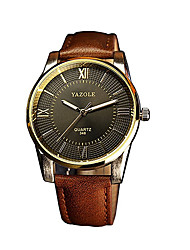 cheap -348 YAZOLE Fashion Men's Business Dress Watch Leather Strap Blue Ray Glass Analog Quartz Wrist Watches