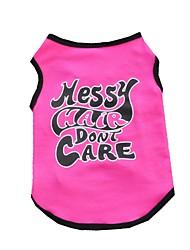 abordables -Chat Chien Tee-shirt Gilet Vêtements pour Chien Lettre et chiffre Rouge Rose Coton Costume Pour les animaux domestiques Homme Femme