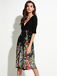 Beach Plus Size Boho Chiffon Dress,Floral V Neck Knee-length Polyester Spandex Summer High Rise Micro-elastic