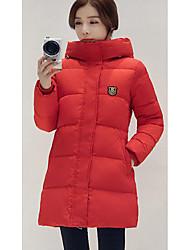 Damen Daunen Mantel,Lang Einfach Lässig/Alltäglich Solide-Polyester Weiße Entendaunen Langarm