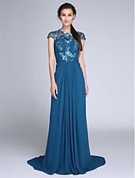 Bainha / coluna jóia varredura do pescoço / escova trem chiffon vestido de noite com lantejoulas com drapeamento lateral por ts couture®
