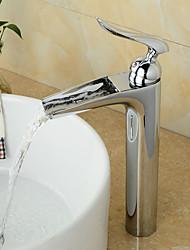 economico -Lavandino rubinetto del bagno - Saliscendi / Cascata / Separato Cromo Installazione centrale Una manopola Due fori