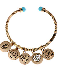Vintage Cuff Bangle Bracelet with Round PendantsLeafSmileTreeHeartLove-Antique