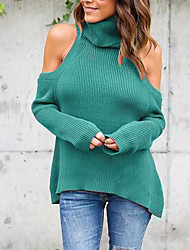 cheap -Women's Daily Formal Going out Cute Sexy T-shirt,Solid Turtleneck Long Sleeves Polyester