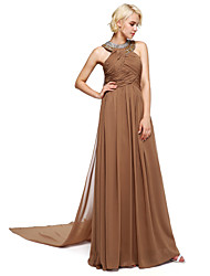 cheap -Ball Gown Halter Floor Length Chiffon Bridesmaid Dress with Beading by LAN TING BRIDE®