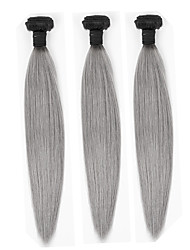cheap -Indian Hair Straight Ombre Hair Weaves 3 Bundles Human Hair Weaves Black / Grey Human Hair Extensions