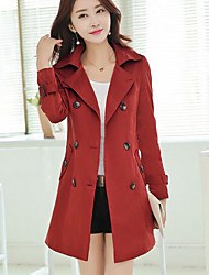 Women's Casual/Daily Simple Trench Coat,Solid Long Sleeve Blue / Red / Black / Brown Polyester