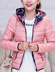 Women's Regular Padded Coat,Simple Casual/Daily Solid-Polyester Polyester Long Sleeve Hooded Pink / Red / Black