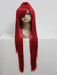 cheap -Gurren Lagann 100cm Long Straight Ponytail Red High Quality Synthetic Cosplay Party Wig