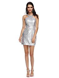 abordables -Funda / Columna Halter Corta / Mini Lentejuelas Fiesta de Cóctel / Evento Formal Vestido con Cinta / Lazo por TS Couture®