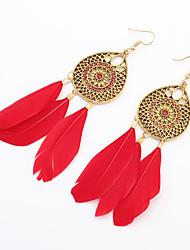cheap -Women European Style Fashion Bohemian Droplets Flower Feather Tassels Drop Earrings