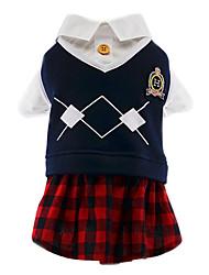 preiswerte -Katze Hund Kostüme T-shirt Overall Hundekleidung Niedlich Cosplay Modisch Plaid/Karomuster Rot/Blau Weiß / blau Kostüm Für Haustiere