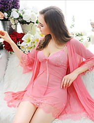 cheap -Women's Lace Lingerie Suits Nightwear Solid-Thin Spandex Lace Black Purple Red Pink