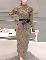 Feminino Conjunto Saia Suits Informal / Tamanhos Grandes Moda de Rua Outono / Inverno,Sólido Preto / Cinza / Dourado PoliésterDecote