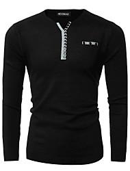 Standard Pullover Da uomo-Per uscire Casual Semplice Attivo Monocolore Blu Rosso Nero A V Manica lunga Cotone Inverno SpessoMedia