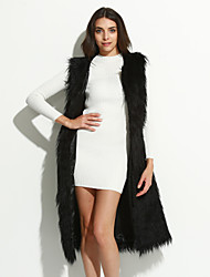 Women's Plus Size / Casual/Daily / Party/Cocktail Sexy / Simple Fur Coat,Solid Round Neck Sleeveless Fall / WinterBlue /