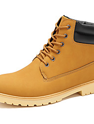 Men's Boots Spring Fall Winter Suede Outdoor Office & Career Casual Flat Heel Lace-up Black Yellow