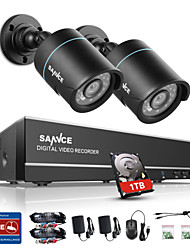 SANNCE® 1.0MP 720P 4CH HD 4 in1 TVI H.264 DVR In/Outdoor 2 PCS CCTV Camera Built-in 1TB HDD