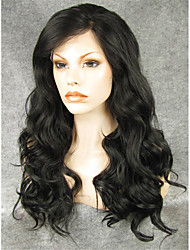 IMSTYLE 24''Natural Looking Heat Resistant Black Long Wave Synthetic Lace Front Wigs