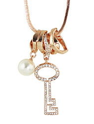 Fashion Rhinestone Key Shape Long Pendant Necklaces