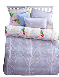 Mingjie Wonderful Gream White Leaves Bedding Sets 4PCS for Twin Full Queen King Size from China Contian 1 Duvet Cover 1 Flatsheet 2 Pillowcases