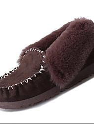 Mujer-Tacón Plano-Confort-Calzado de Barco-Exterior Informal-Piel-Negro Marrón Rosa Gris