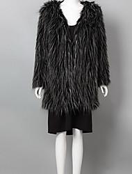 Asymetrisk Langærmet Medium Dame Sort Ensfarvet Vinter Street I-byen-tøj / Fest/cocktail Pelsfrakke,Imiteret pels