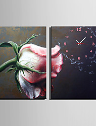 E-HOME® A Pink Rose Clock in Canvas 2pcs